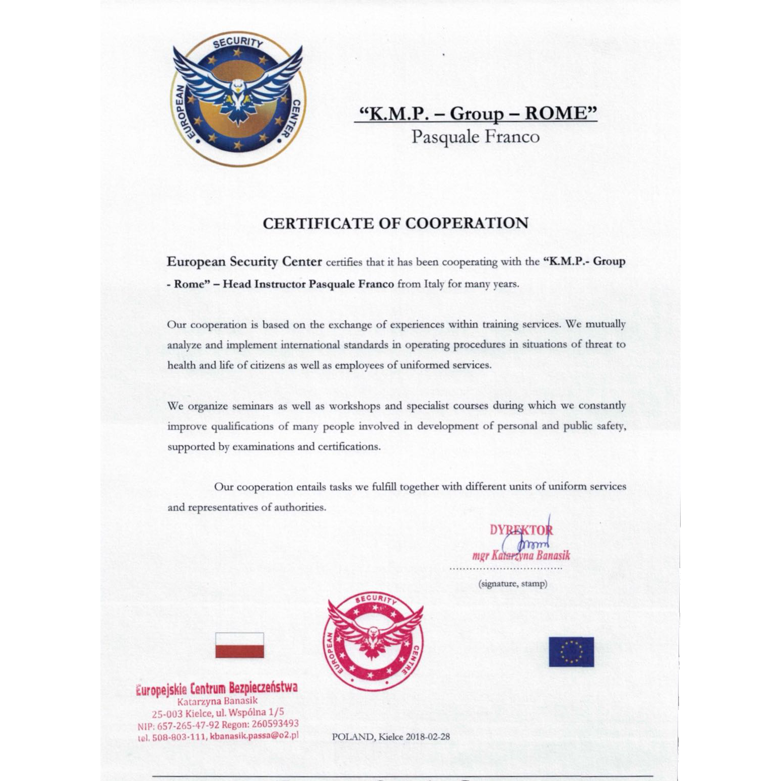 Certificate of International Cooperation